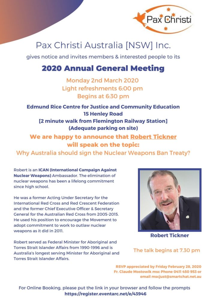 PAX CHRISTI AUST NSW BRANCH ANNUAL GENERAL MEETING 2020 @ Edmund Rice Centre