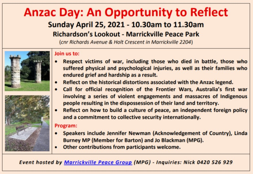 ANZAC DAY - An Opportunity to Reflect @ Richardson's Lookout Marrickville Peace Park